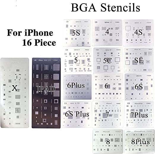 16pcs/lot full set BGA Reballing Stencil dedicate kit for iPhone 4 4s 5 5s 5c 6 6+ 6S 6s+ 7 7+ SE 8 8Plus X iPad - - Amazon.com