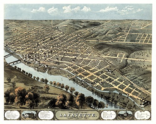 Old Map of Lafayette Indiana 1868 Tippecanoe County (18x24 Paper Poster)