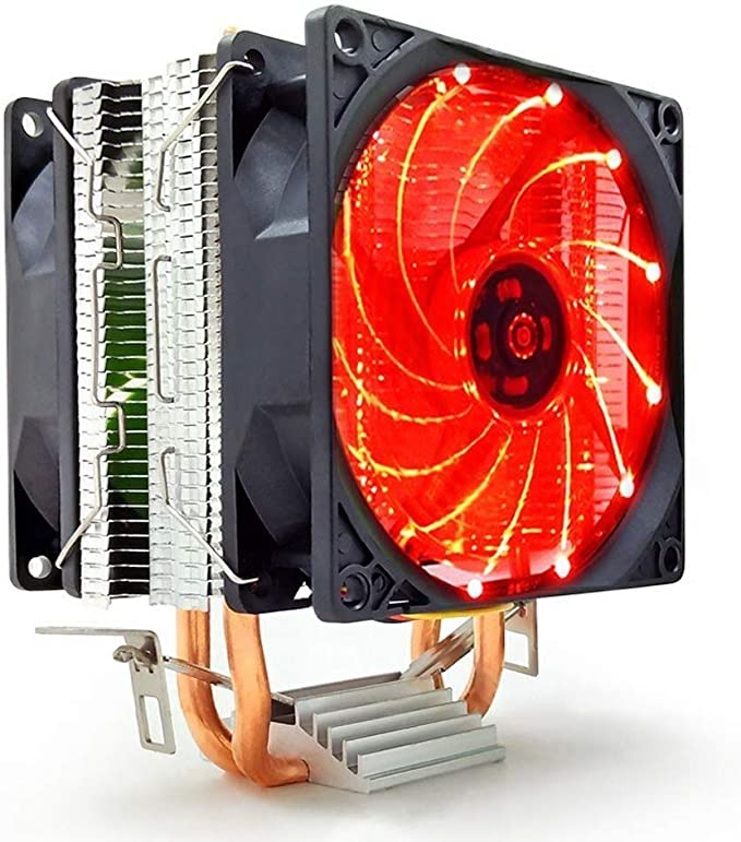 Práctico refrigerador portátil Refrigerador de CPU for computadora de Mesa, cojinete hidráulico de Ventilador Doble de CPU de 12V 90 mm sin luz (2): Amazon.es: Hogar