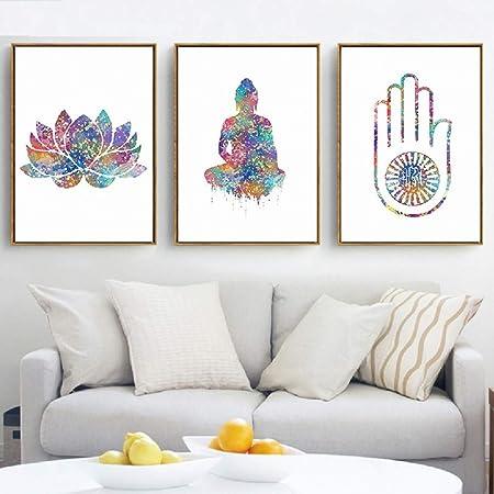 NDJKE Arte espíritu Libre espíritu Yoga Mano Lienzo Pintura ...
