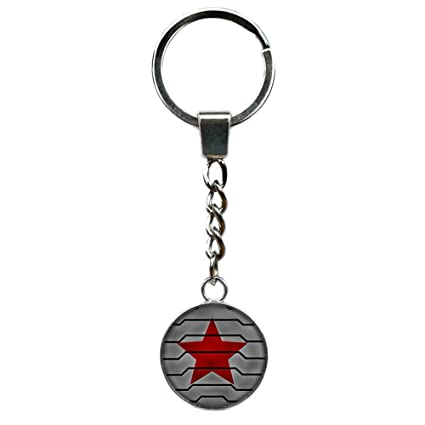 Superheroes Brand Winter Soldier Keychain Key Ring Marvel Comics 2018 Movies Cartoon Superhero Logo Theme Bucky Barnes Premium Quality Detailed ...