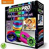 NONTOXIC 3D Pen Filament Refill Kit - 20 Colors - 500 Feet - Universal 1.75mm PLA Filament - 25' Per Color - SketchPro