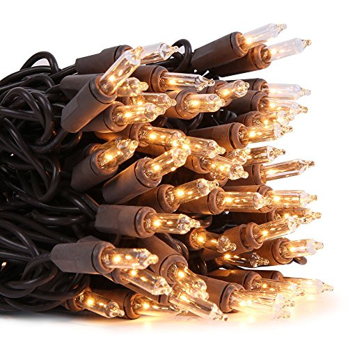 LIDORE Super Bright Clear Mini Christmas Tree Lights. Gift for Decoration. End to End Connection. 100 Count Bulbs on Brown Wire Black Wire Christmas Lights