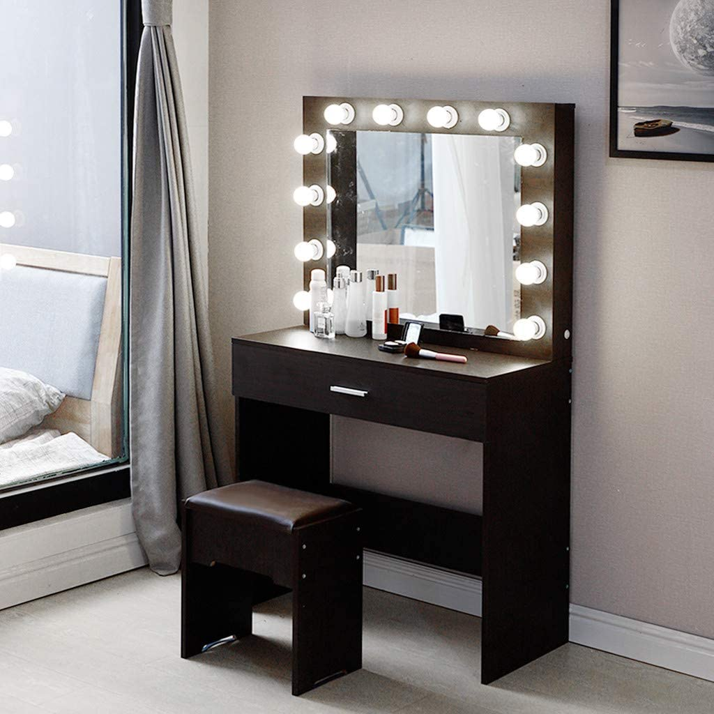 Beyonds Luxury Vanity Table Makeup Set With 10 Led Lights Mirror And Solid Wood Stool Dressing Table Mirror Bench Drawers Set Makeup Dresser