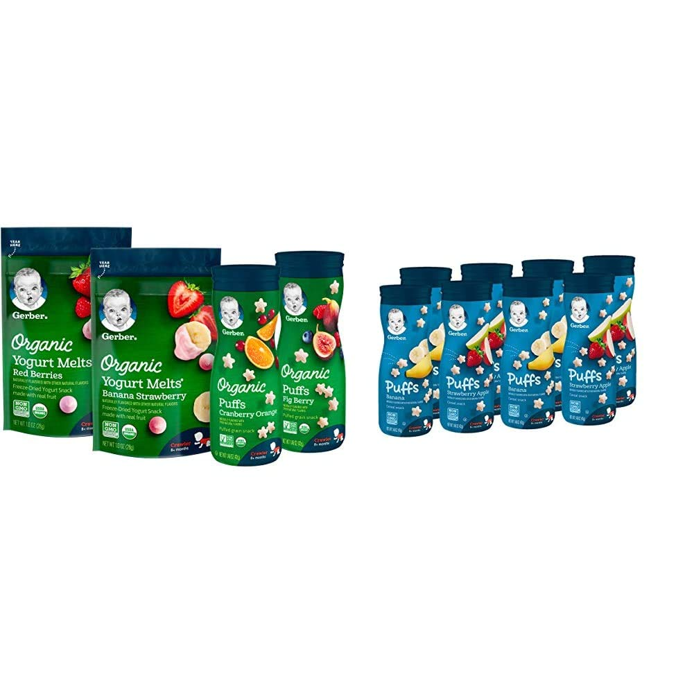Gerber Up Age Snacks Variety Pack - Organic Yogurt Melts & Organic Puffs, 7Count & Puffs Cereal Snack, Banana & Strawberry Apple, 8 Count