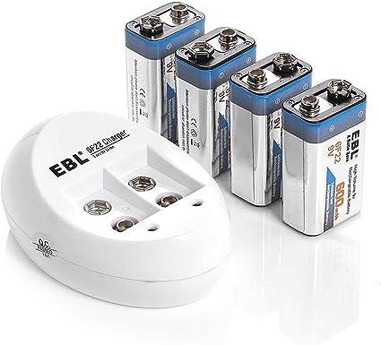 Amazon Com Ebl 4 Pack 9v Batteries Li Ion 9 Volt Rechargeable Batteries With 840 9v Battery Charger