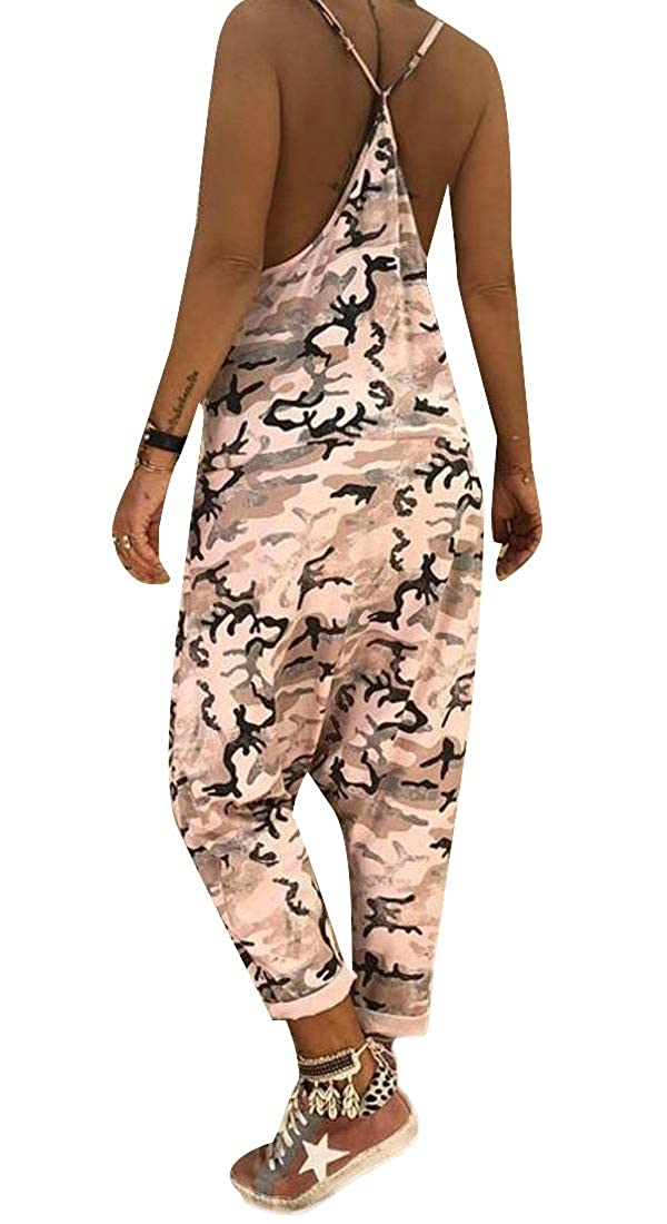 WSPLYSPJY Womens Pockets Harem Spaghetti Strap Baggy Camo Jumpsuits Rompers