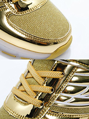 Mr.Ang SkateSchuhe mit LED 7 Farbe Farbwechsel Lichter blinken Räder SchuheTurnschuhe Jungen und Mädchen Flügel-Art Rollen Verstellbare neutral Kuli Rollschuh Schuhe ko3 Gold