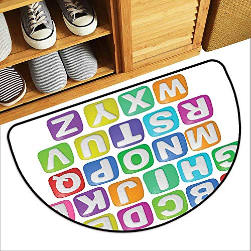 G Idle Sky Letter Entrance Door mat Cartoon Style Colorful Alphabet Squares Children Kids Nursery Kindergarten Design Anti-Fading W29 x L17 Multicolor