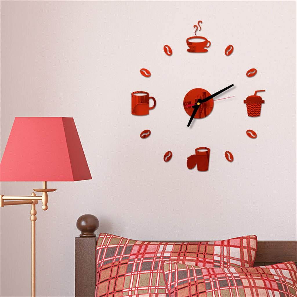 Pet1997 Large 3D DIY Acrylic Wall Clock, Modern Roman Numbers Wall Clock with Acrylic Mirror Wall Stickers Clock Home Decor Mural Decals for Home Office Decorations Gift (Red) by Pet1997 (Image #1)