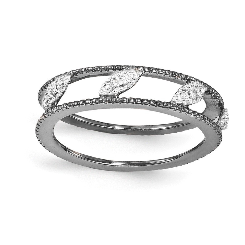 Sterling Silver Stackable Expressions Ruthenium-plated Diamond Jacket Ring