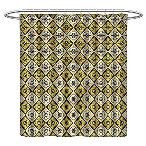 "Qenuanmpo Colorful Shower Curtain Grey and Yellow,Yellow Tile Flowers,Washable, Eco-Friendly,for Bathroom Curtain 54""x72"""