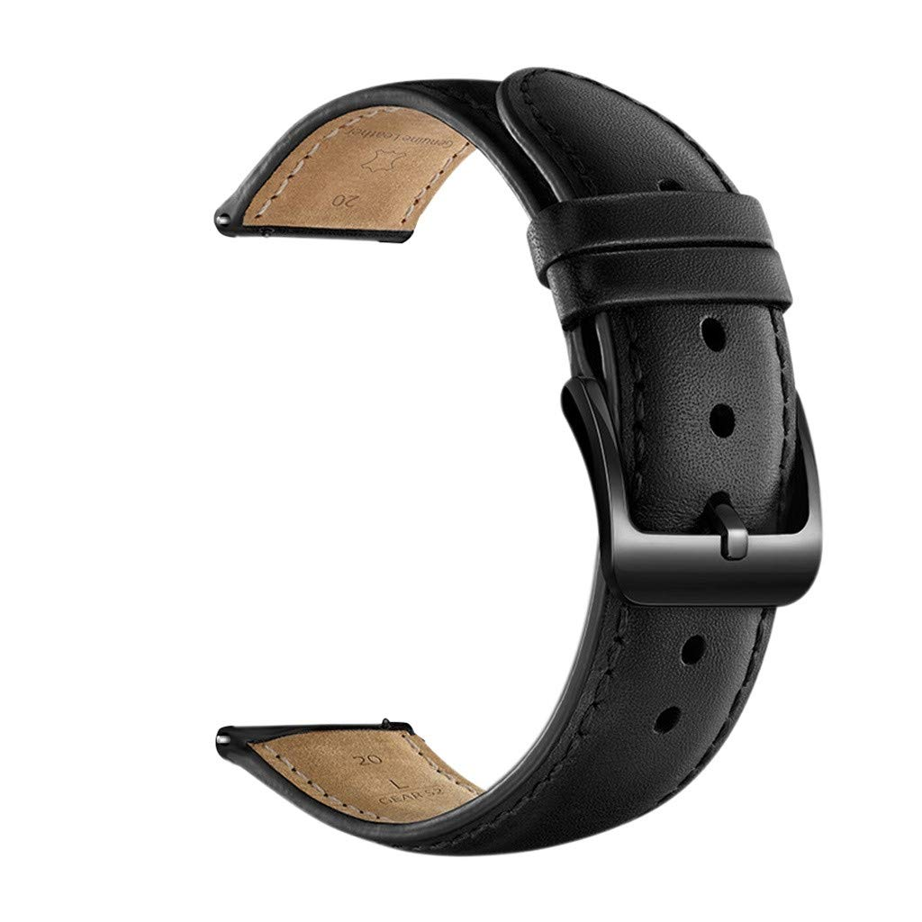 Leather Watch Band,Replacement Straps for for Samsung Galaxy Watch Active (Black)