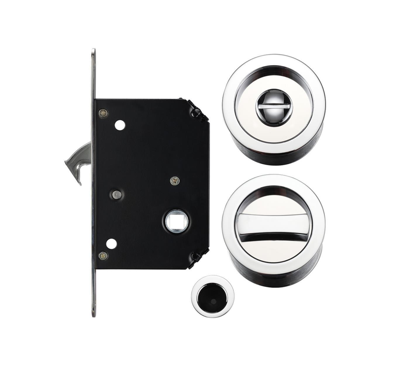 Bathroom Sliding Door Lock with Flush Edge Pull Handle Polished ...