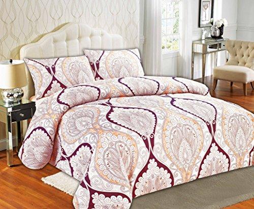 Tache Home Fashion 2131-F Tache 3Piece Maroon Mandala Fancy Patterned Duvet Cover Set, Full,