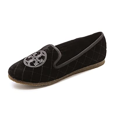 Tory Burch Quilted Billy Slipper, Smart Velvet/Leather, Black (6 B(