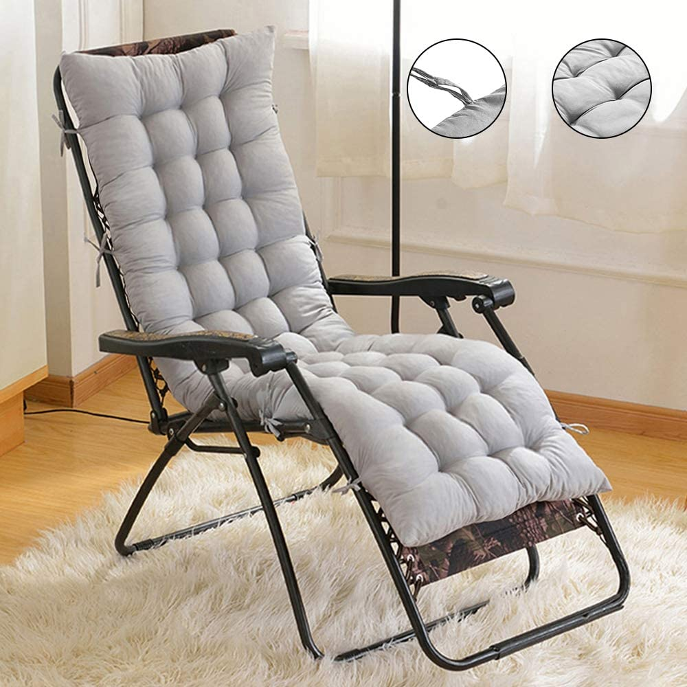 Cuscino Poltrona Sdraio Relax Cuscino Imbottito per Sedia a Sdraio Cuscino Panca 153x53x7cm Grigio