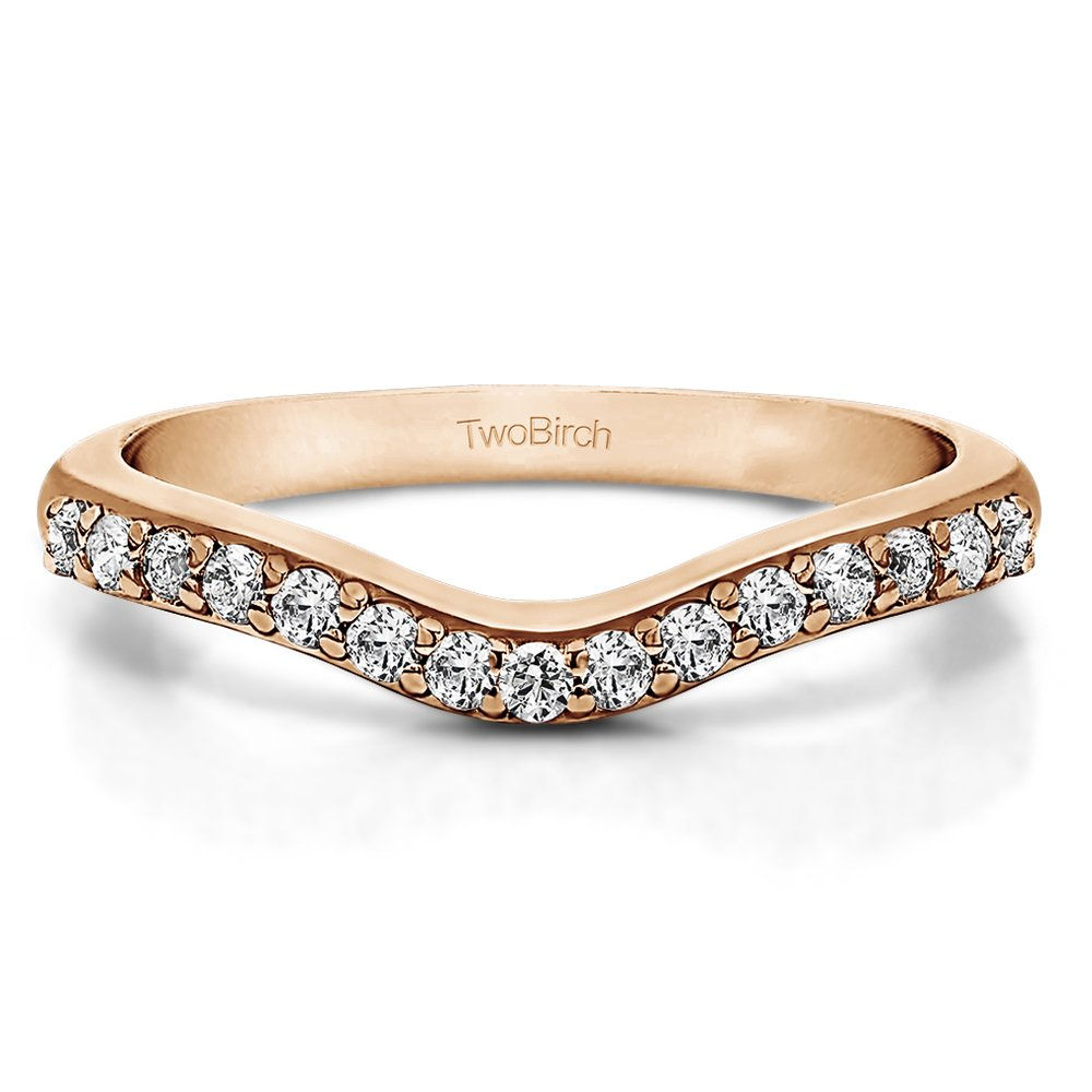 CZ Delicate Curved Wedding Ring In Rose Gold Sterling Silver(0.33Ct) Size 3 To 15 in 1/4 Size Interval