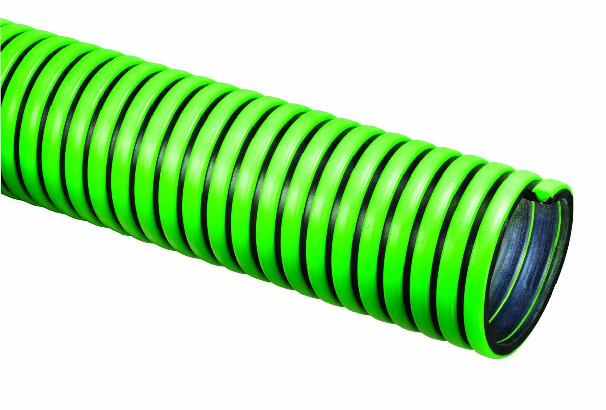 Tigerflex TG Series EPDM Tiger Green Suction Hose with Polyethylene Helix, 50 PSI Max Pressure, 1-1/2 inches ID, 100 feet Length