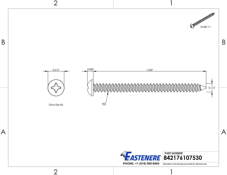 #4 x 1-1//2 Sheet Metal Screws Self Tapping Pan Head Stainless Steel Qty 1000