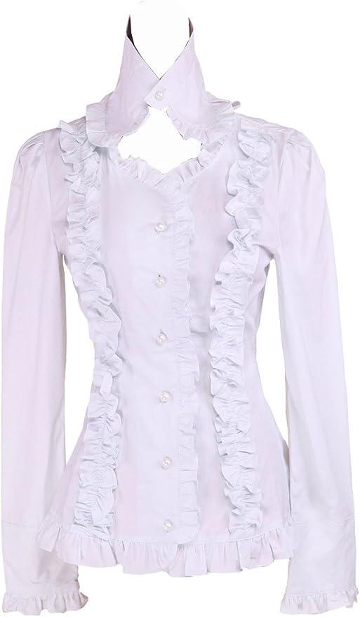 Blanca Algodón Volantes Encaje Victoriana Stand-up Collar Lolita Camisa Blusa de Mujer: Amazon.es: Ropa y accesorios