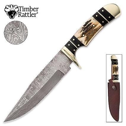 Amazon.com: Madera Rattler Colorado Hunter Damasco Cuchillo ...
