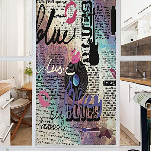 Decorative Window Film,No Glue Frosted Privacy Film,Stained Glass Door Film,Blues Music Genre Old Record Electric Guitars Kiss Inscriptions Grunge Decorative,for Home & Office,23.6In. by 47.2In Multic