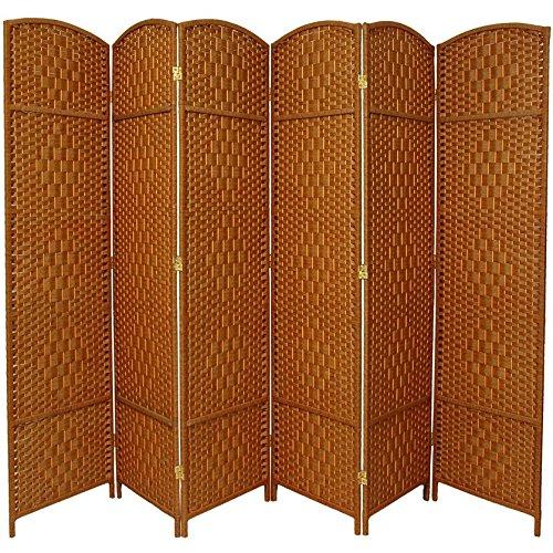 Oriental Furniture 7 ft. Tall Diamond Weave Room Divider - Dark Beige - 6 Panels