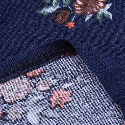 Blanc Chemise Femmes Dame Bleu V Boho en Manches Col Col en Haut Lin Vintage Print Vrac Vrac Courtes Coton Noir Moiti V DContractE Blouse Tops en Floral SOMESUN Impression en 5BdSqcW5