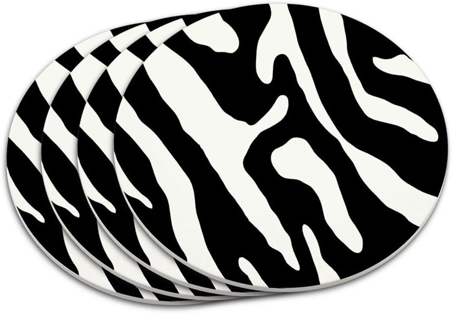 Graphics And More Zebra Print Black White Coaster Set Amazon Co Uk Kitchen Home