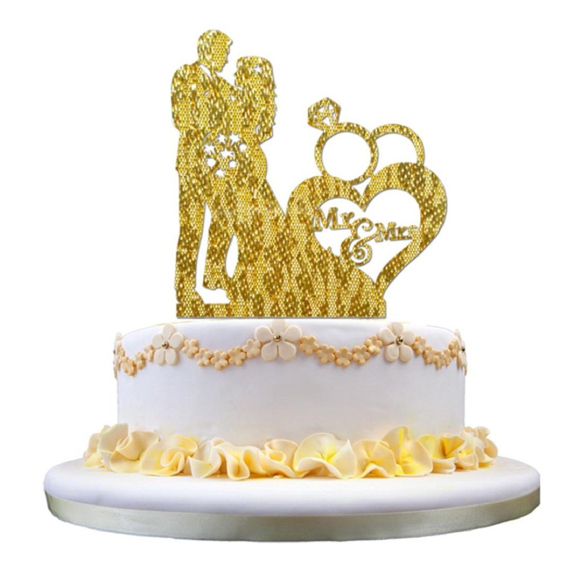 Amazon.com: Naladoo 3D Sticker Sweet Wedding Cake Topper Insert Card ...