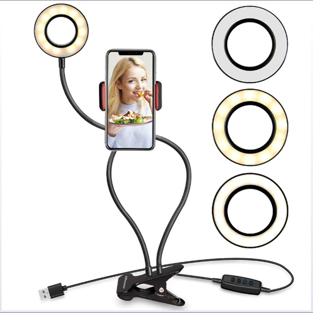 CWH/&WEN 27 Inch Studio Ring Light for Smartphone Selfie Dimmable Fill Lamp LED Photography Photo Camera Lights with Tripod Holder