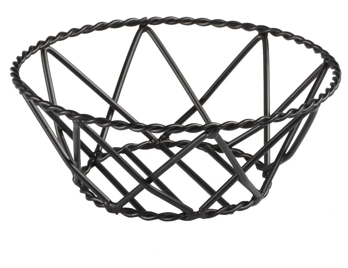 Displays2go Round Bread Baskets with Braided Edges, Wire Fruit Bowls for Restaurants, Steel (Black) - Set of 10