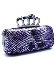 Szstudio Snake Skin Evening Clutch Bag with Black Satin Skull Ring Knuckle Duster Four Rings Party Night Club Bag