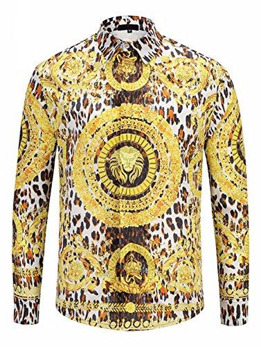 Gucci Mens Dress Shirts - PIZOFF Mens Long Sleeve Luxury Gold Floral Print Dress Shirt Y1792-68-M