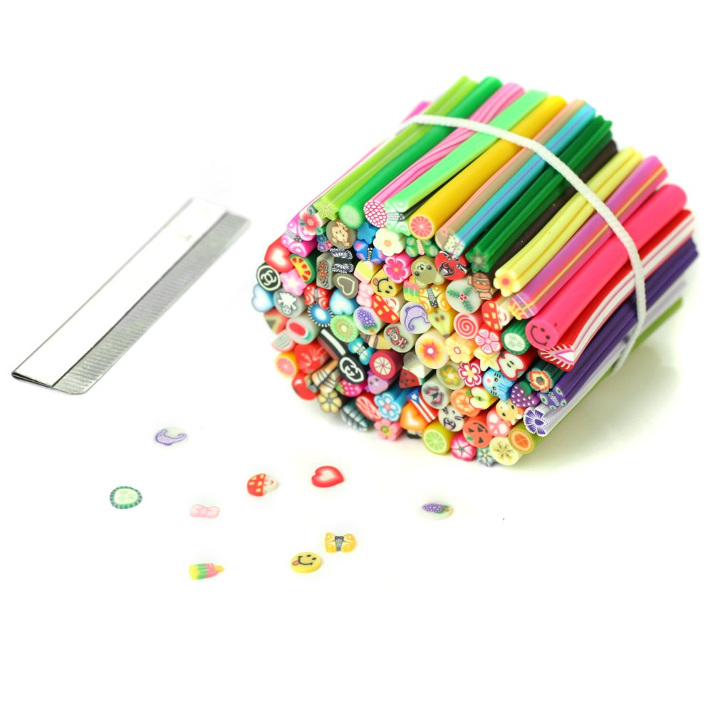 100pcs Cute 3D Nail Art Fimo Canes Rods Sticks Sticker Decoration With Blade New ReFaXi