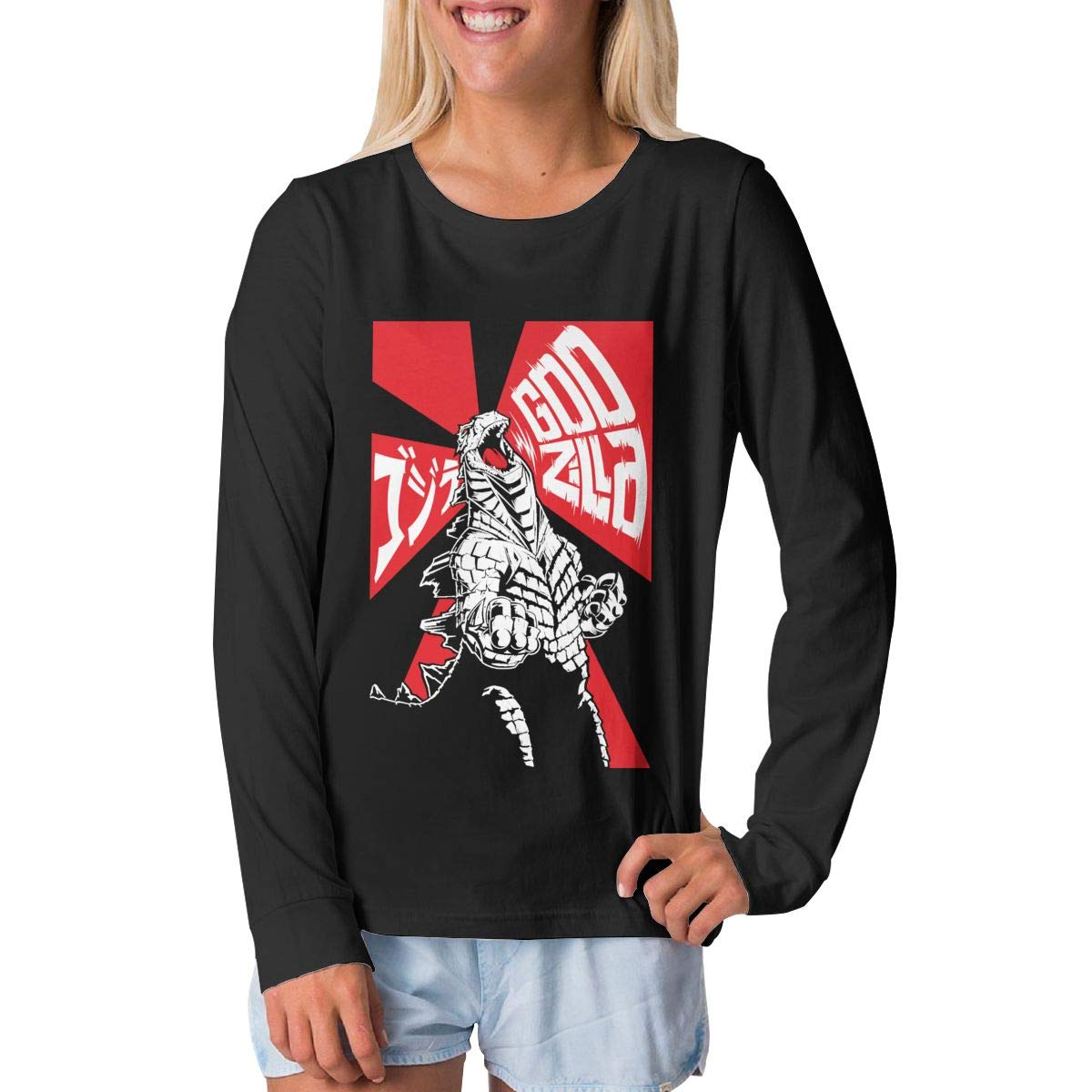 BilliePhillips Adolescent Godzilla Leisure Long Sleeve T Shirts