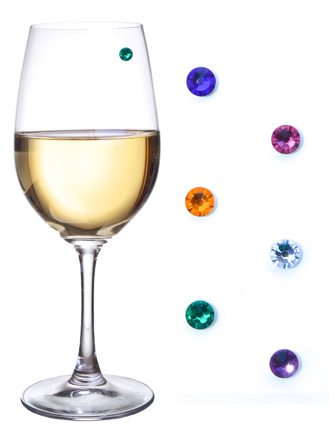 Swarovski Crystal Magnetic Wine Glass Charms for Stemless Glasses, Champagne Flutes & More – Set of 6 Jewel Colors