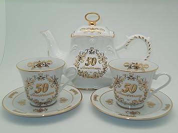 50th Anniversary Tea Set Luxury Gold Trim Tea Pot 2 Cups and Saucers & Amazon.com | 50th Anniversary Tea Set Luxury Gold Trim Tea Pot 2 ...