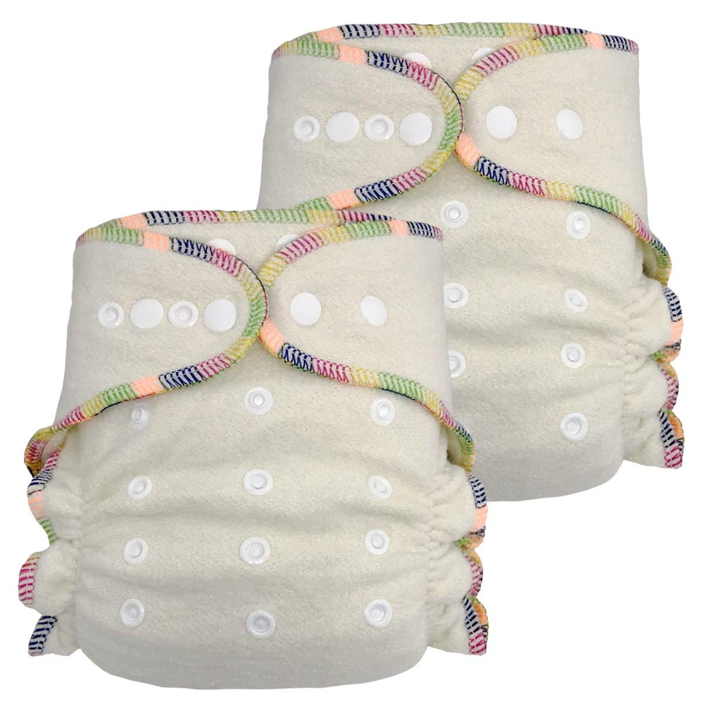 Fitted Cloth Diaper: Overnight Diaper with 2 Cotton Hemp Inserts, One Size with Snap Buttons (2-Pack) by Ecoable