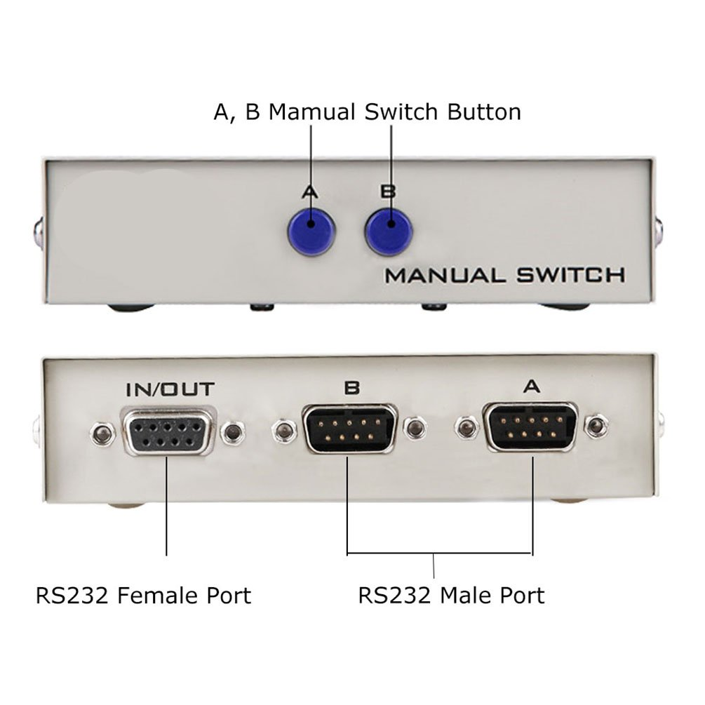 Amazon.com: ES-Tune 2 Way RS232 Serial Switch Box DB9 Pin Serial ...