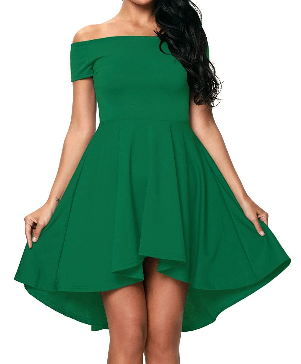 Red Dot Boutique 8040 - Plus Size Hi High Low Off Shoulder Skater Dress