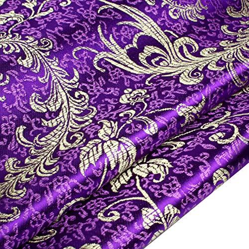 (Tong Gu Chinese Satin Faux Silk Fabric Floral Brocade Dress Clothes Cheongsam Tang Suit DIY Retro (Dark Purple))