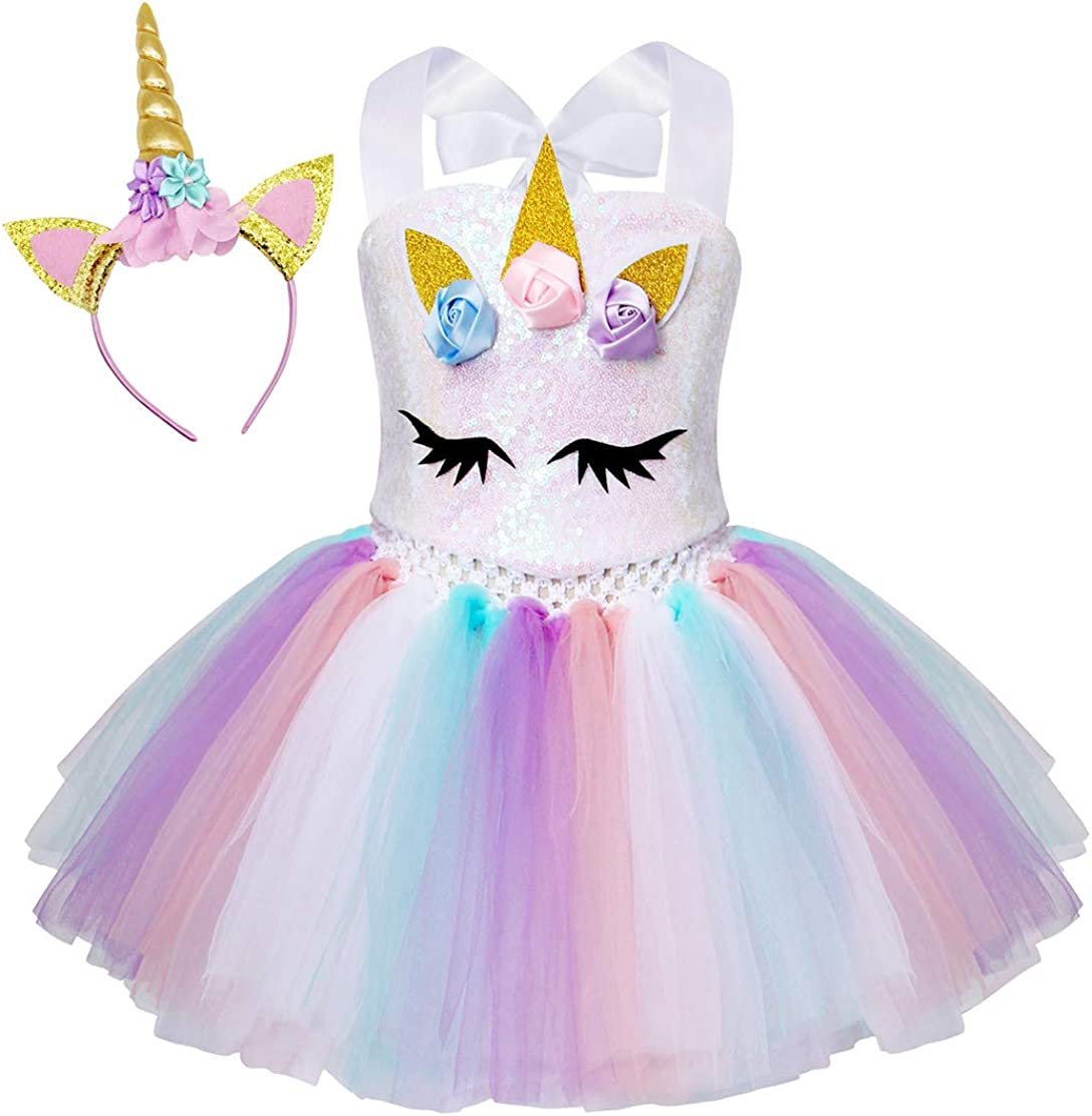 Jurebecia Girls 2Pcs Unicorn Tulle Tutu Dress with Unicorn Head Hoop for Kids Birthday Themed Party Halloween Dance Outfits