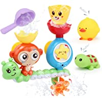 Sotodik Baby Bath Toys Bathtub Shower Swimming Water Toys Playsets with Monkey Waterfall Station and 2PCS Float Squirt…