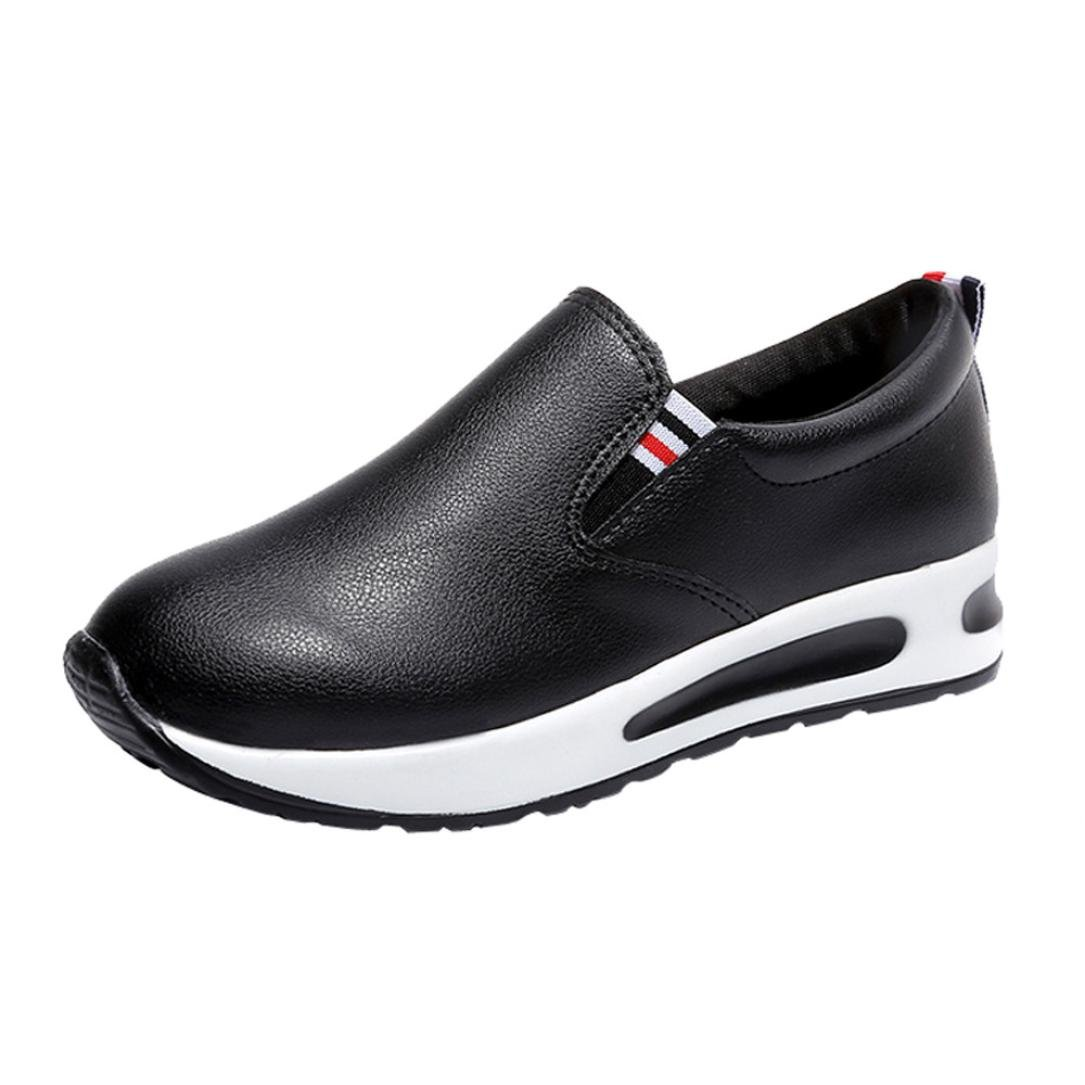 AIMTOPPY Women Flat Thick Bottom Shoes Slip On Ankle Boots Casual Platform Sport Shoes (US:7, Black)