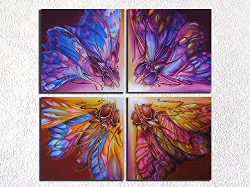 (Canvas Print Panel Wall Art Fantasy Psychedelic Artwork Surreal Butterflies Pink Purple Blue Brown Yellow Interior Decor)