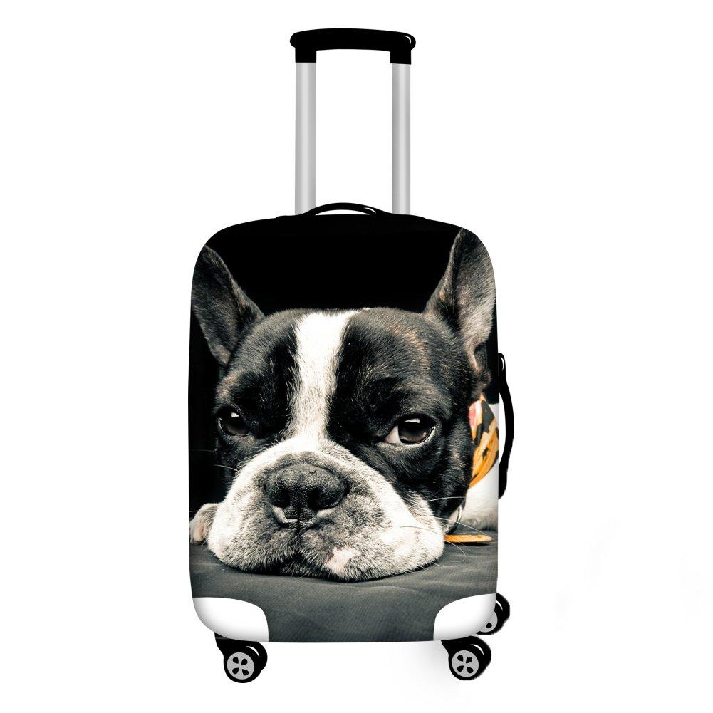 Coloranimal Black Boston Terrier Printing Trolley Luggage Protector Elastic Dust Rain Covers Fits 26-30 Inch Case