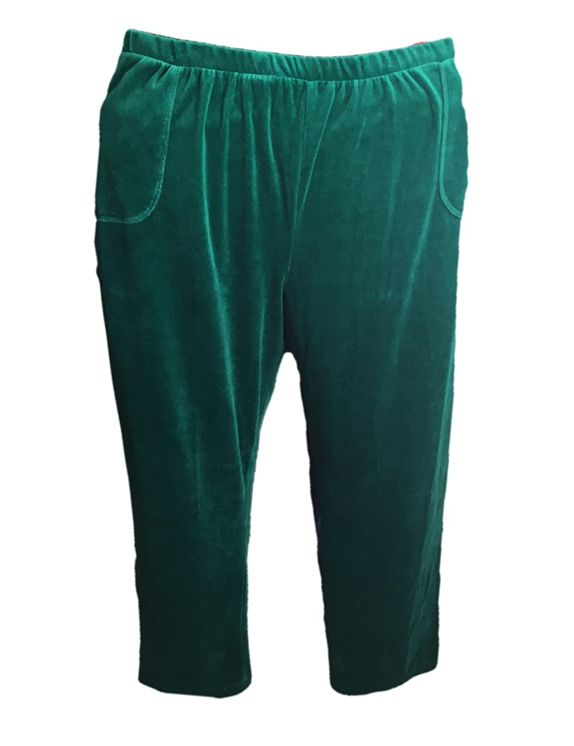 Women's Green Velour Pants with Side Patch Pockets