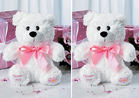 Amazon Com Two 2 Flower Girl Teddy Bears Plush Gift Wedding Party